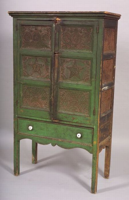 Green-Painted Pine and Tin Pie Safe