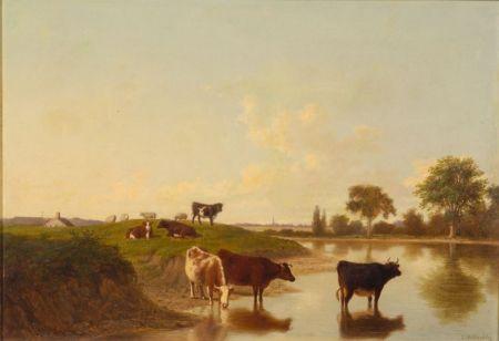 Thomas Hewes Hinckley (American, 1813-1896)    Cattle Watering