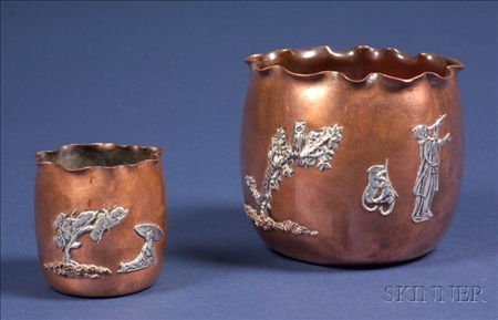 Two Gorham Japonesque Copper and Sterling Mounted Vases