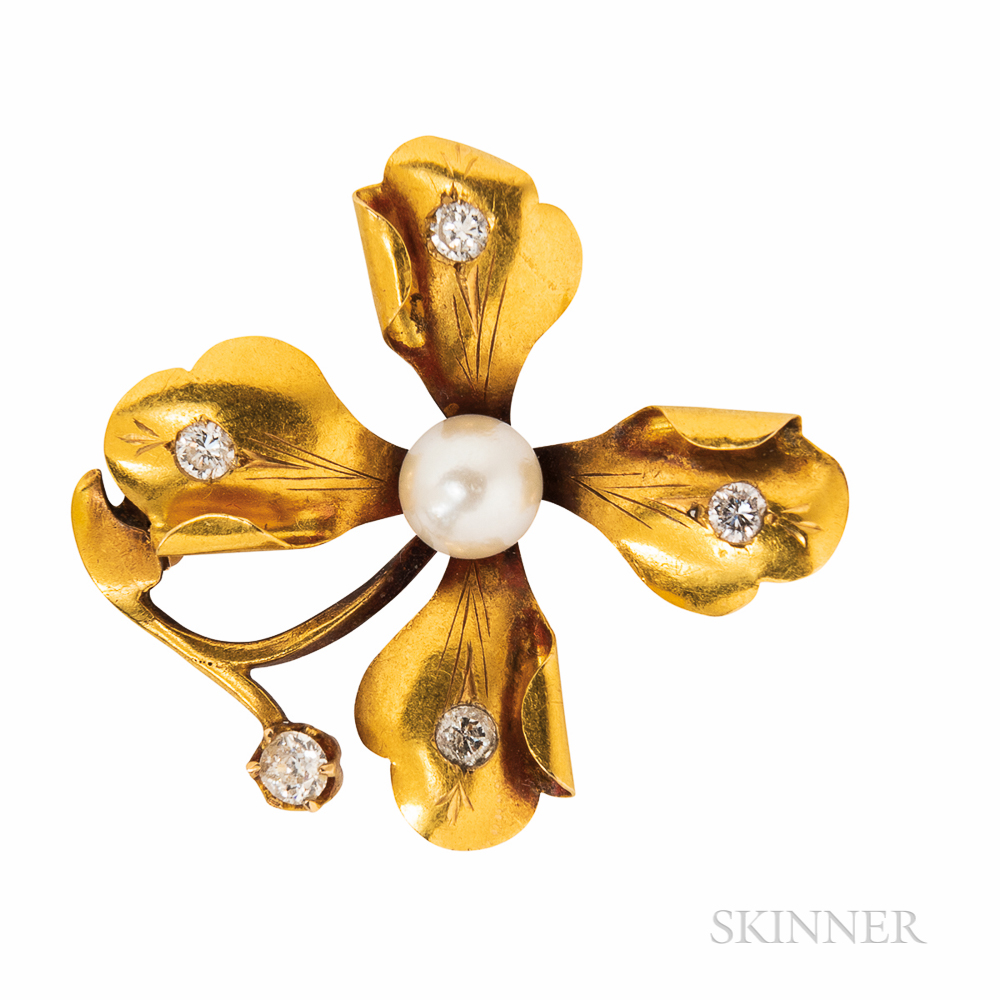 Gold and Diamond Flower Brooch