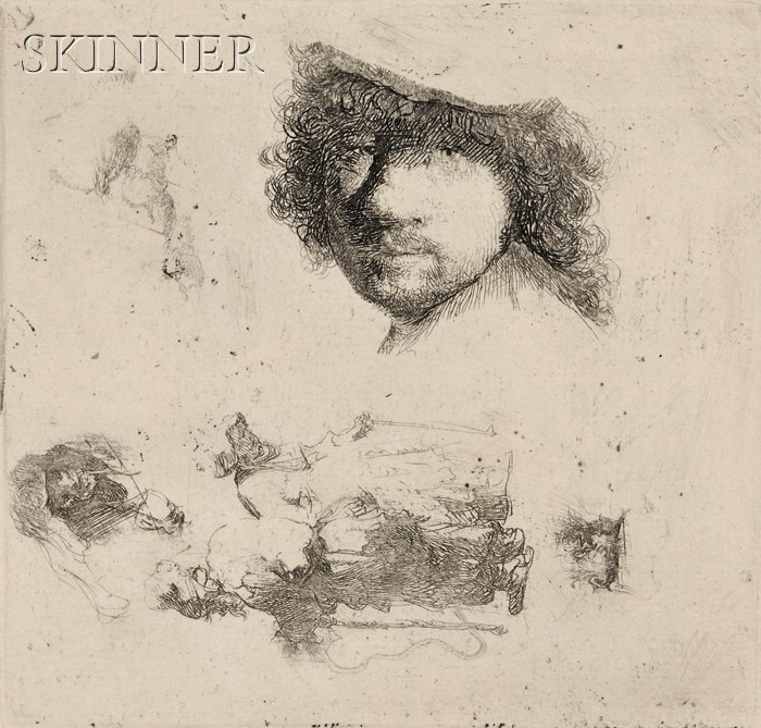 Rembrandt van Rijn (Dutch, 1606-1669)      Sheet of Studies:  Head of the Artist, A Beggar Couple, Heads of an Old Man