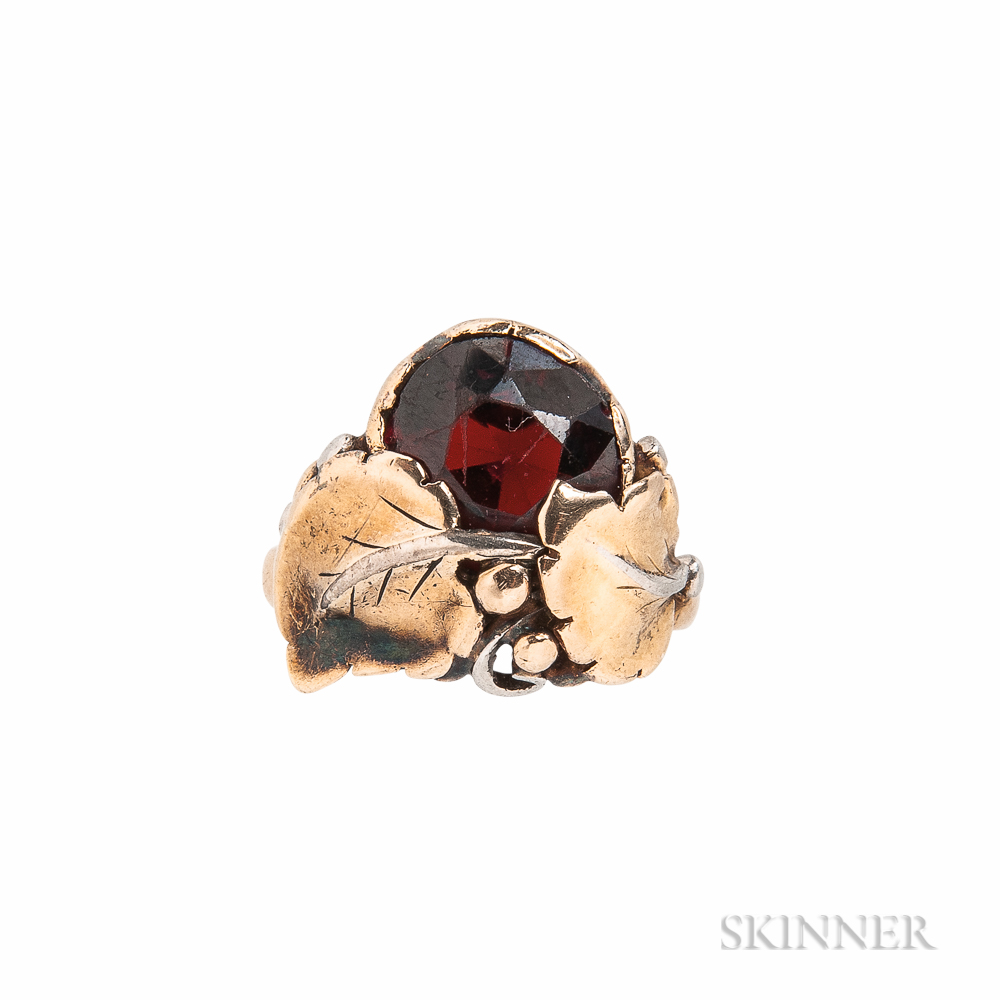 Arts and Crafts Gold and Garnet Ring, Attributed to Edward Oakes