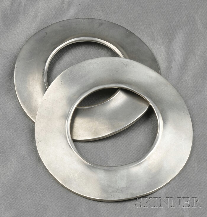 Two Silver-tone Metal Bracelets, Robert Lee Morris