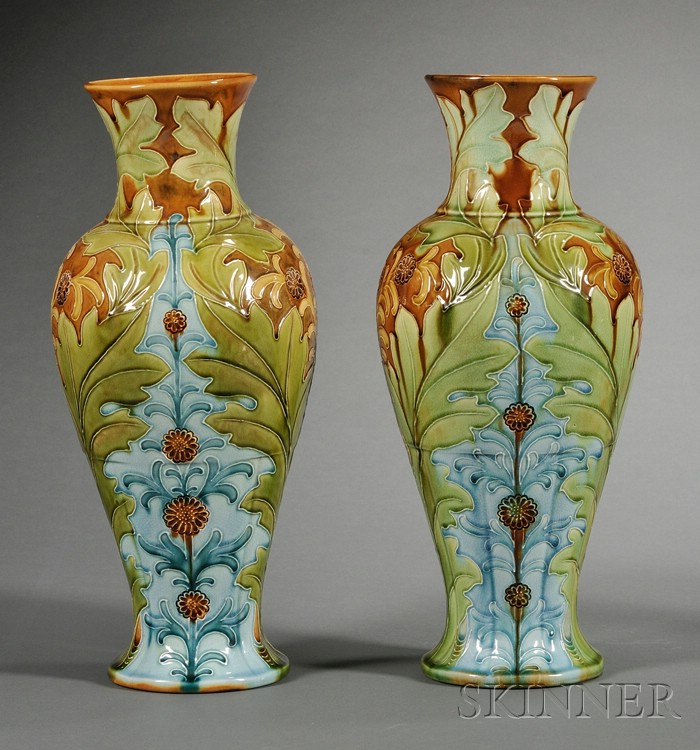 Pair of Wedgwood Harry Barnard Decorated Majolica Vases