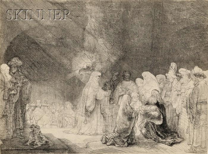 Rembrandt van Rijn (Dutch, 1606-1669)      The Presentation in the Temple:  Oblong Plate
