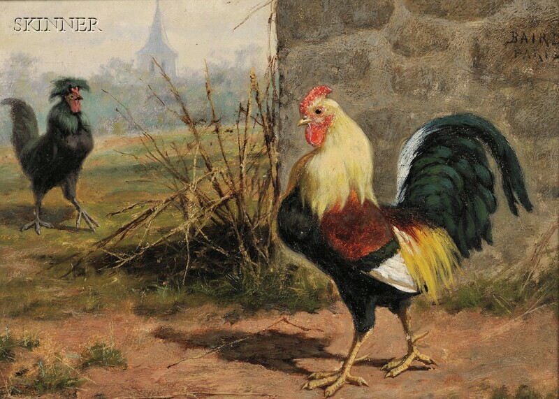 William Baptiste Baird (American, 1847-1917)      Two Paintings Depicting Roosters:  Barnyard Encounter   and Cockfight