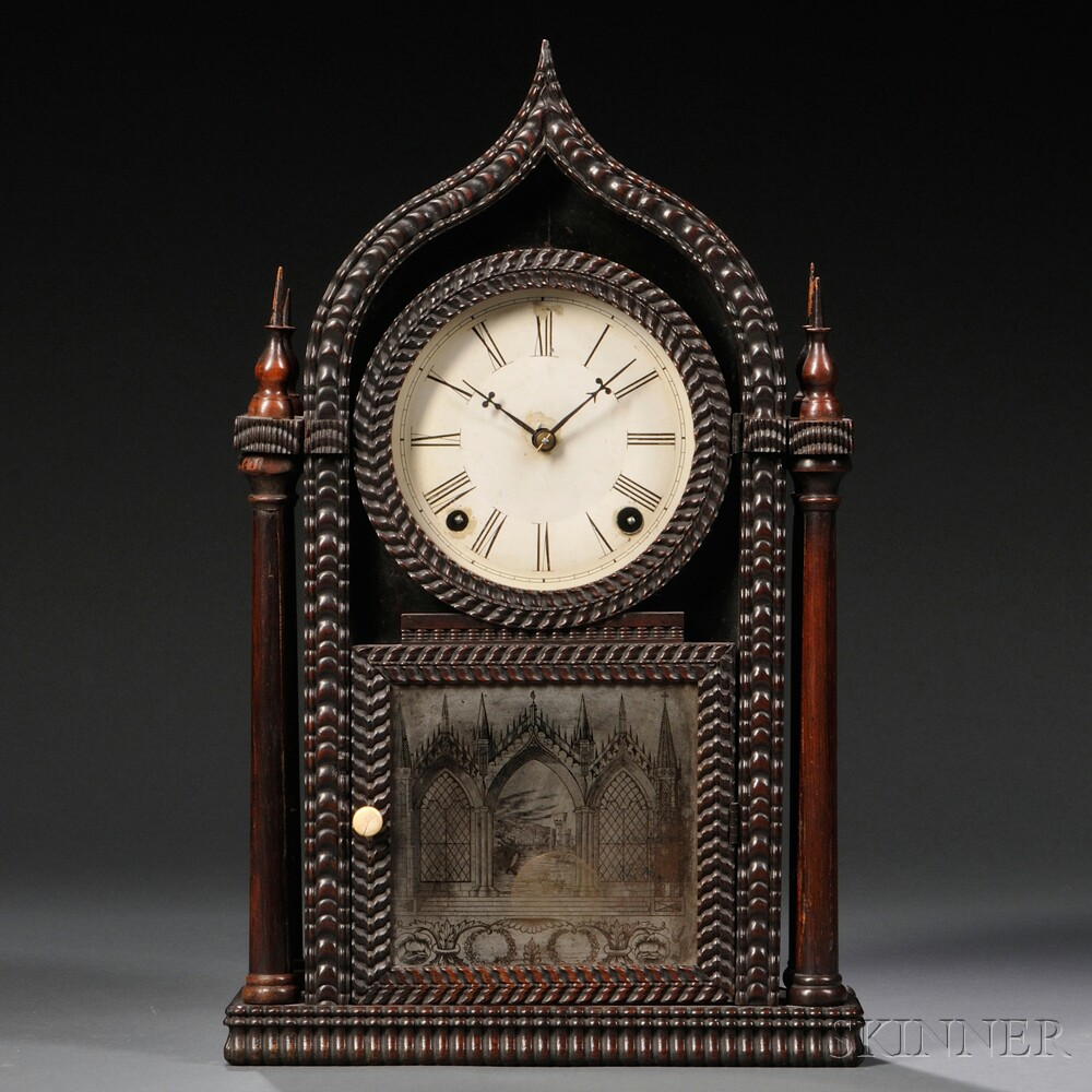 J.C. Brown Ripple Ogee Gothic Rosewood Shelf Clock