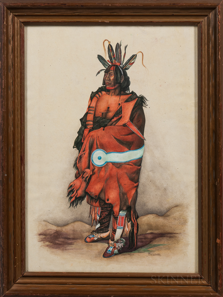 "Watercolor Depicting ""Pachtüwa-Chtä, an Arrikkara Warrior,"" After Karl Bodmer"