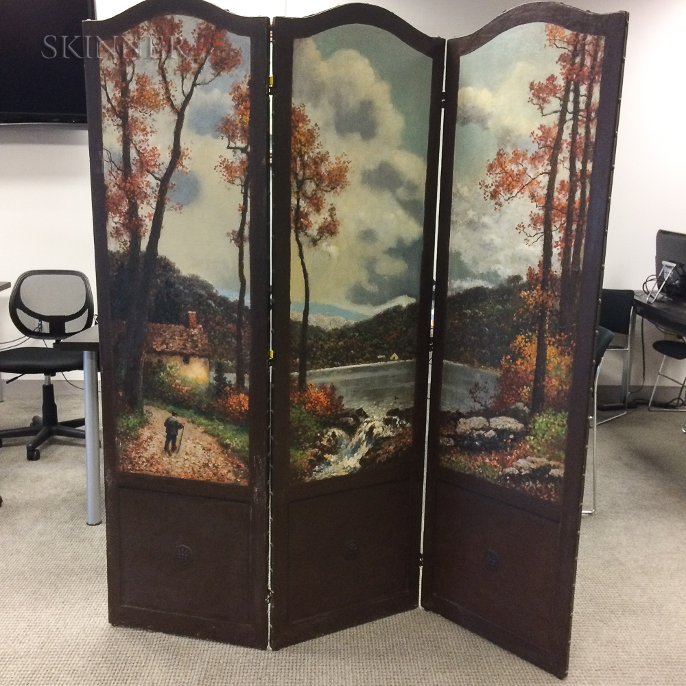 Frank Russell Green (American, 1856-1940)      Three-panel Painted Folding Screen with Autumn Landscape