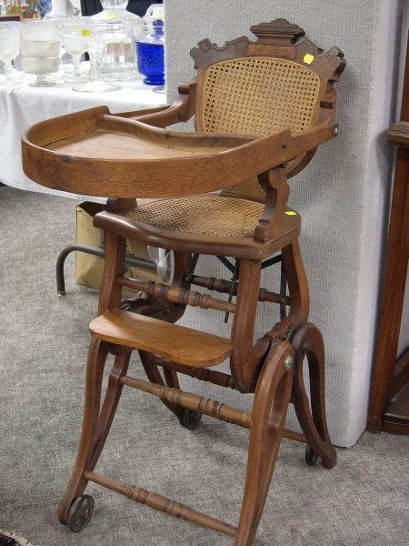 Eastlake-type Caned Walnut Adjustable High Chair.