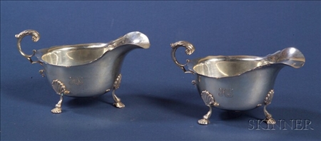 Pair of George V Silver Sauce Boats for Tiffany & Co.
