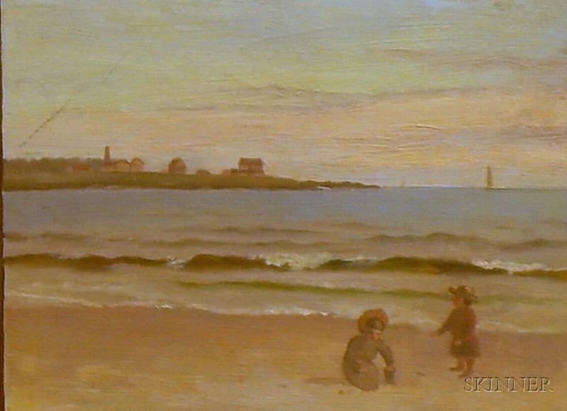 Framed Oil on Panel View of a Beach in Newport, Rhode Island
