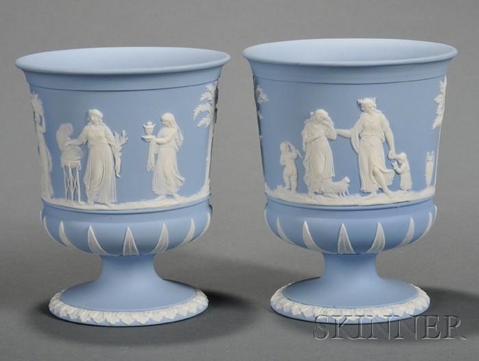 Pair of Wedgwood Solid Light Blue Jasper Vases