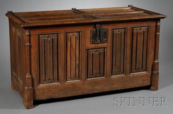 Gothic-style Oak and Wrought-iron Mounted Coffer