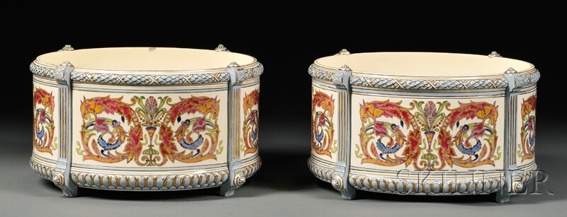 Pair of Fischer Budapest Porcelain Centerbowls