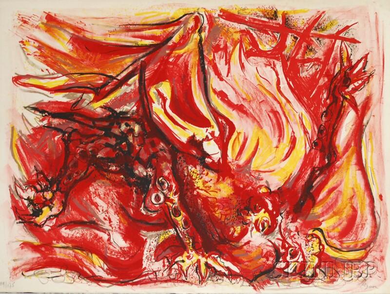 Thirteen Assorted 20th Century Works:       Edouard Pignon (French, 1905-1993), Combats de coqs