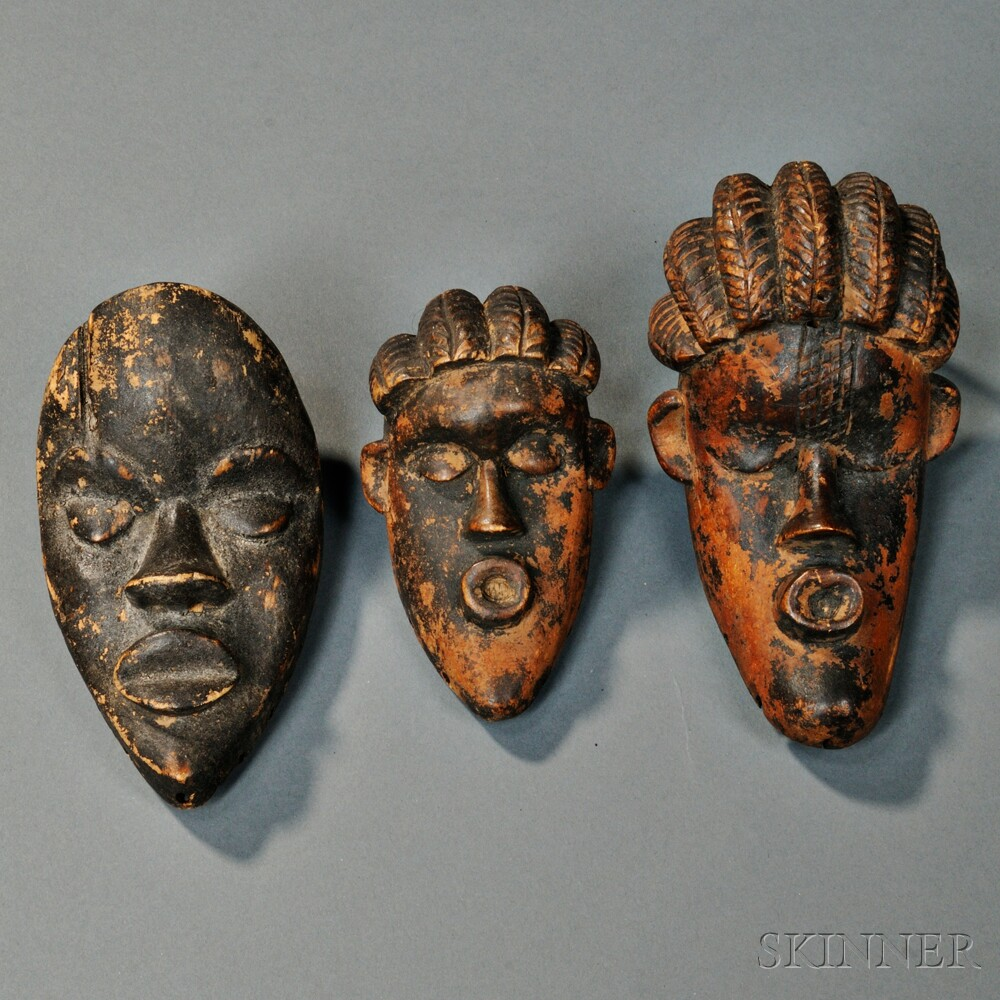 Three African Carved Wood Passport Masks