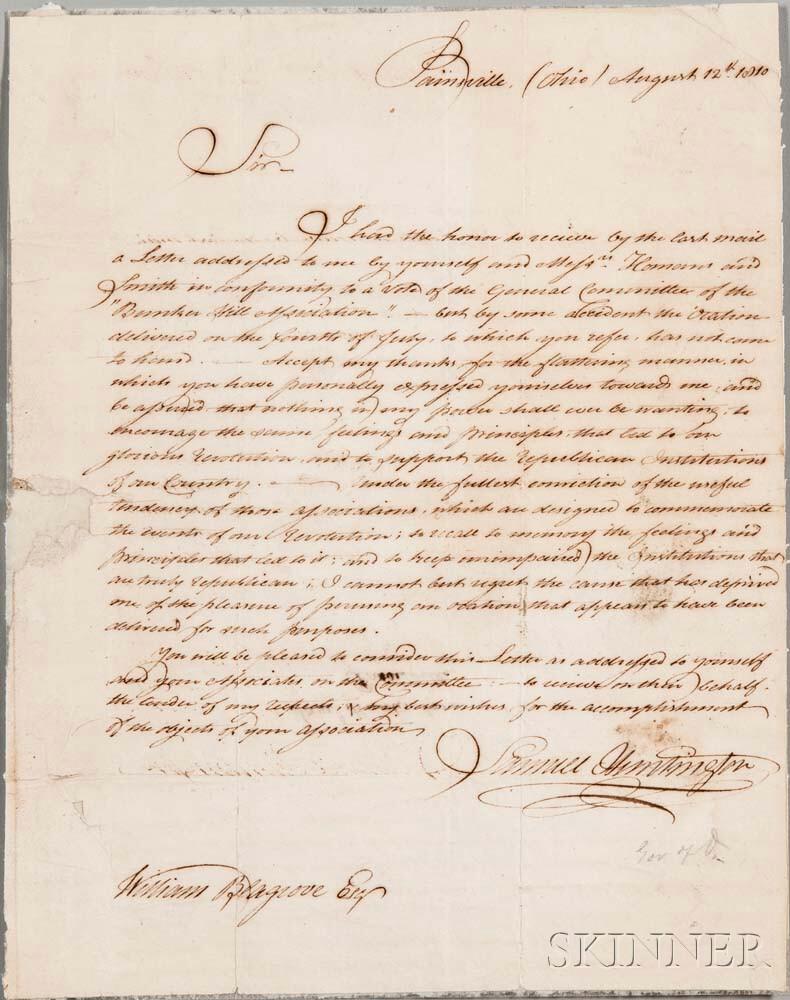 Huntington, Samuel H. (1765-1817) Letter Signed, 12 August 1810.