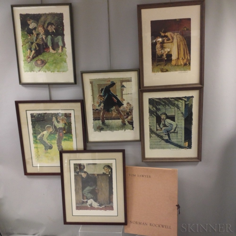 Norman Rockwell (American, 1894-1978)      Six Prints from Tom Sawyer Portfolio, The Color Edition