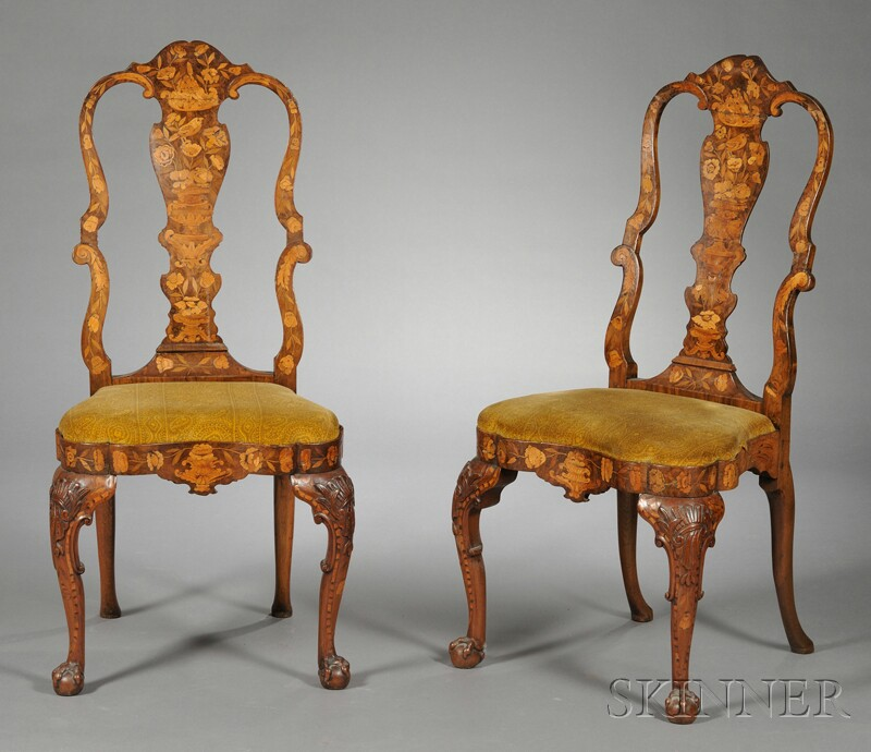 Pair of Dutch Marquetry Inlaid Side Chairs