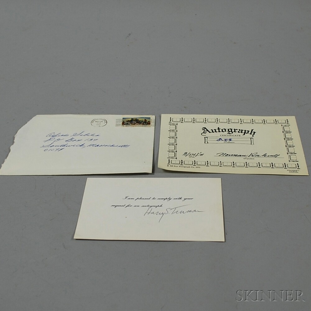 Harry Truman Autographed Card and a Norman Rockwell Autographed Card.     Estimate $100-150