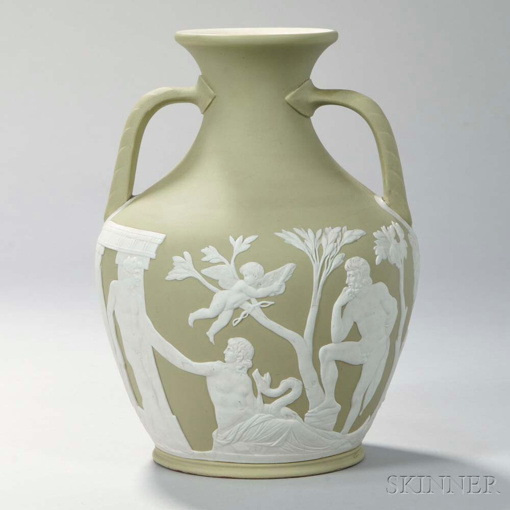 Wedgwood Green Jasper Dip Portland Vase