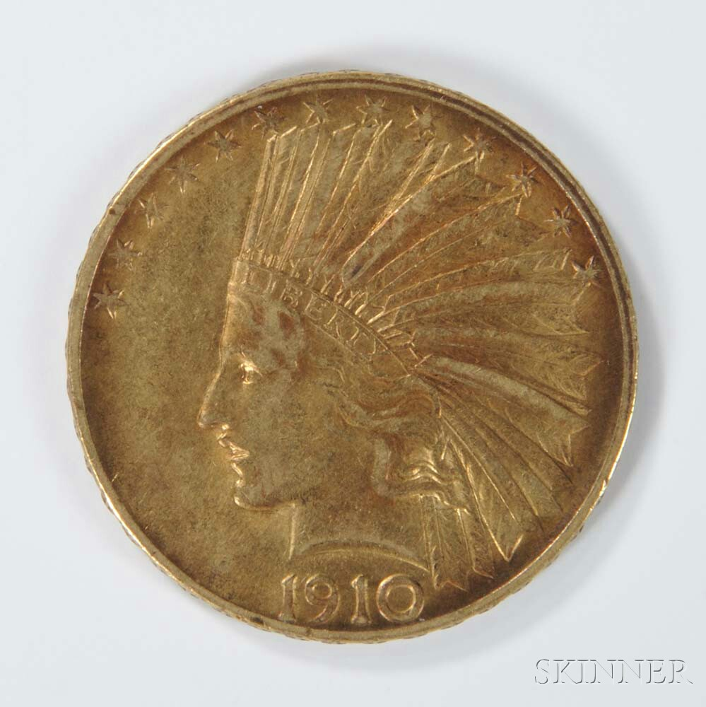 1910 $10 Indian Head Gold Coin.     Estimate $400-600