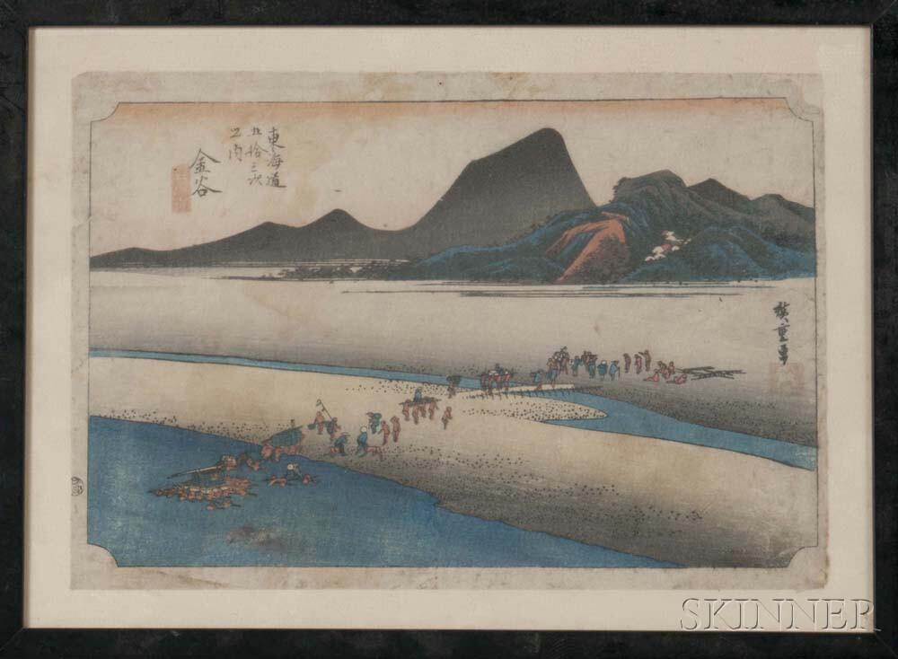 Utagawa Hiroshige (1797-1858), Kanaya, Distant Bank of Oi River