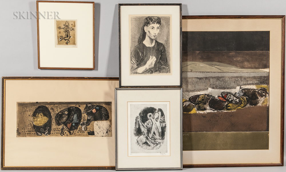 Five 20th Century Framed Prints:      José Ortega (Spanish, 1921-1991), Two Untitled Color Etchings with Carborundum