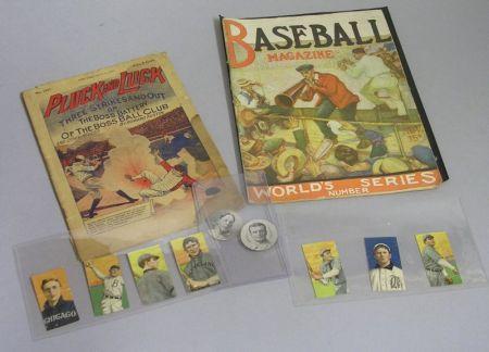 Nine Assorted Early Baseball Cards, a 1917 Baseball Magazine