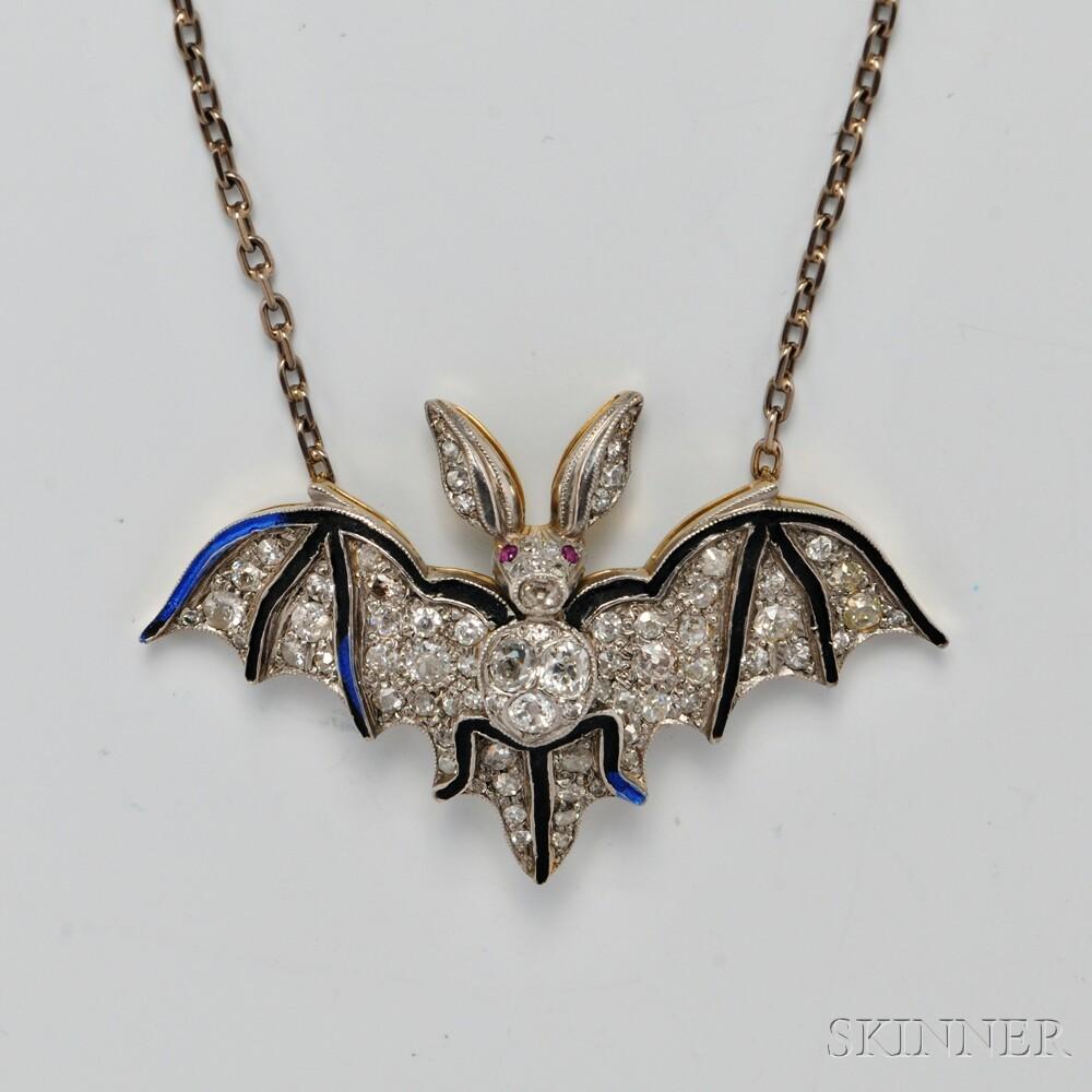 18kt Bicolor Gold, Diamond, and Enamel Vampire Bat Pendant