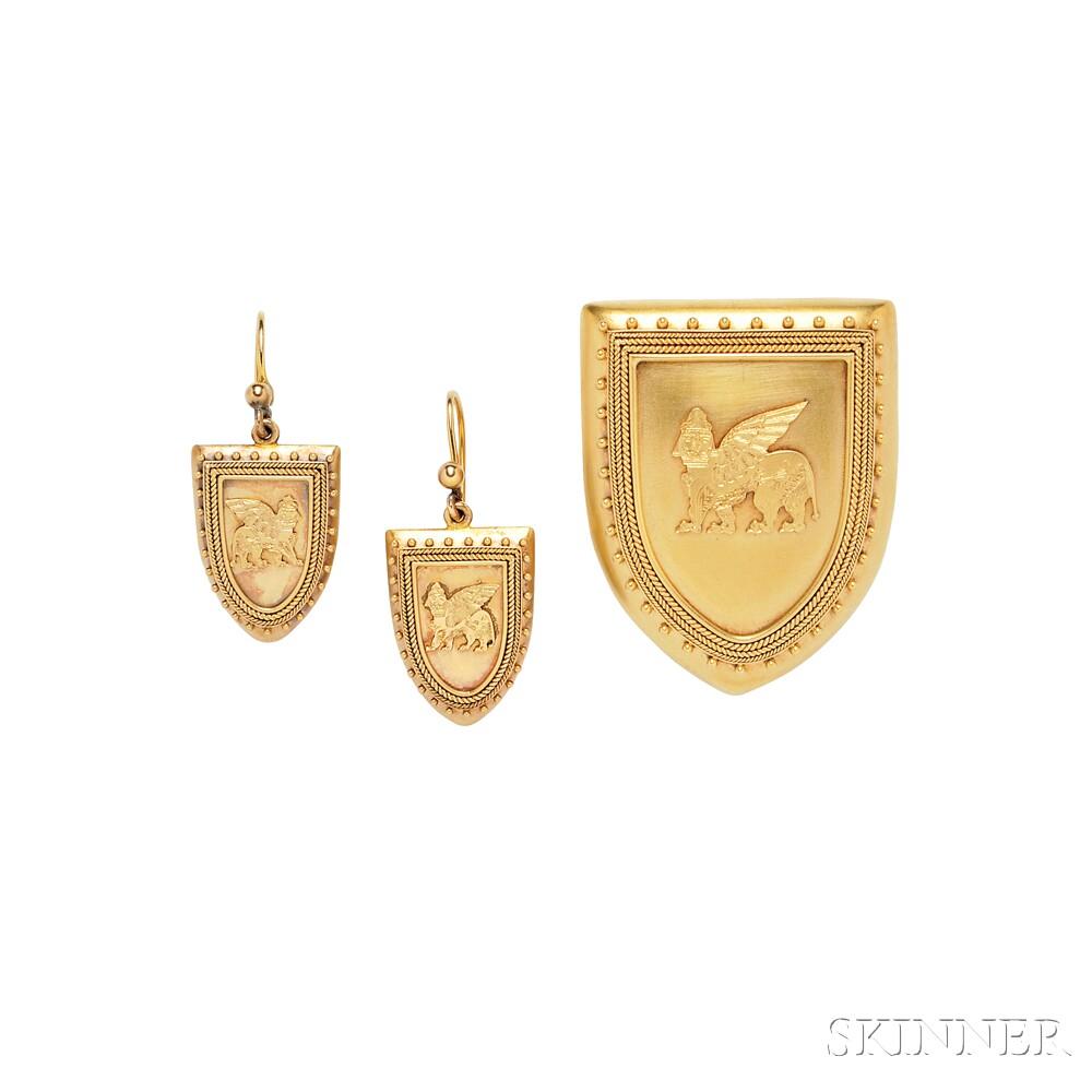 Assyrian Revival Gold Demi-parure