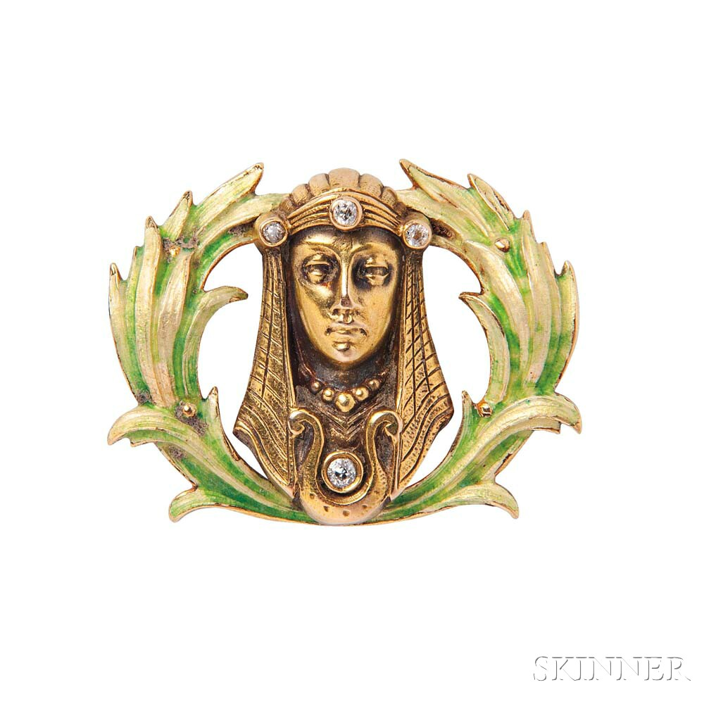 Art Nouveau 14kt Gold, Enamel, and Diamond Watch Pin
