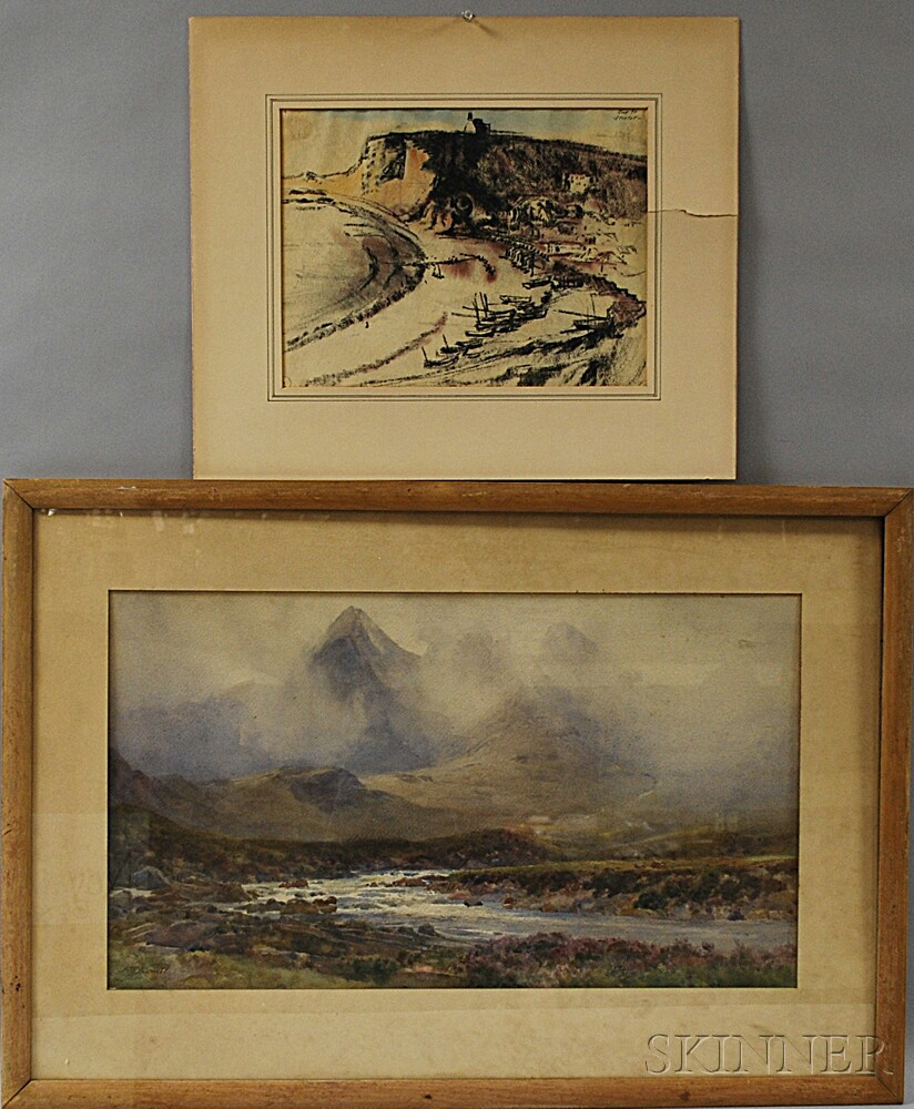 Two Works:       Arthur Trevithin Nowell (British, 1862-1940), Highland Landscape