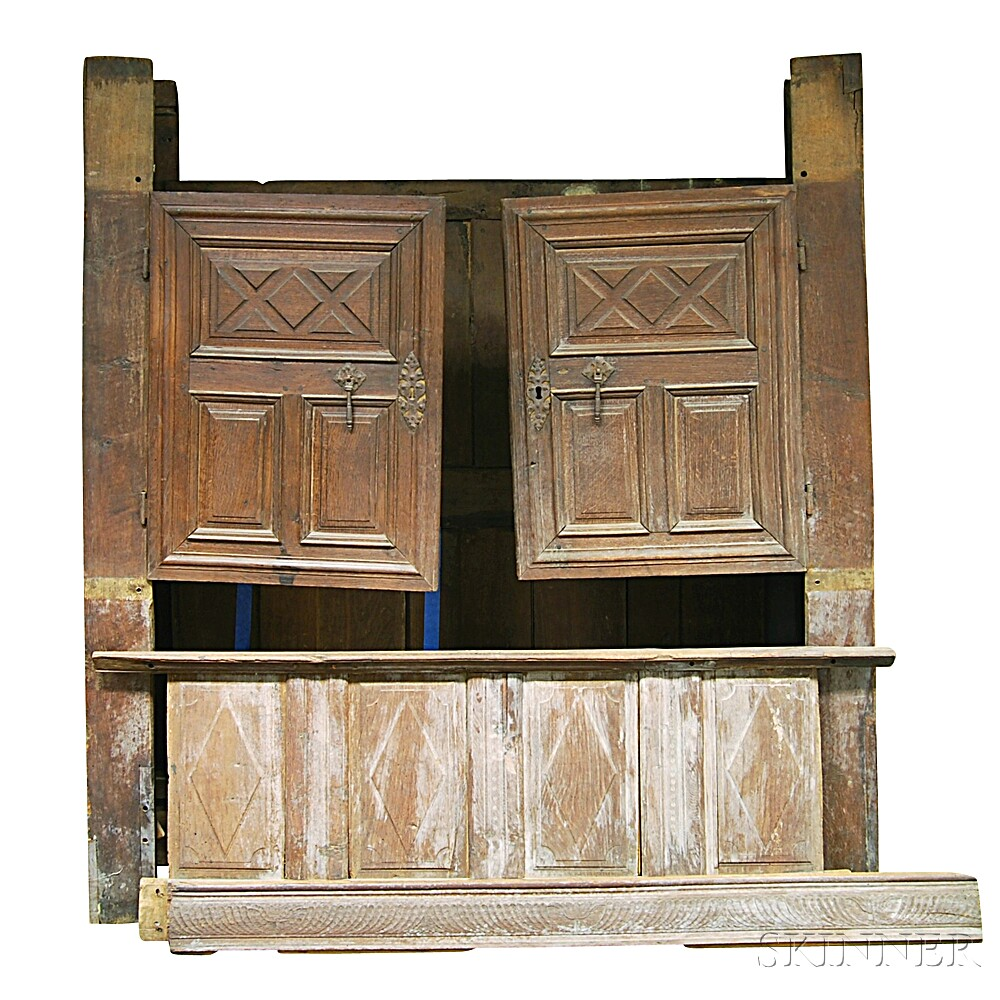 Carved and Paneled Oak Cupboard