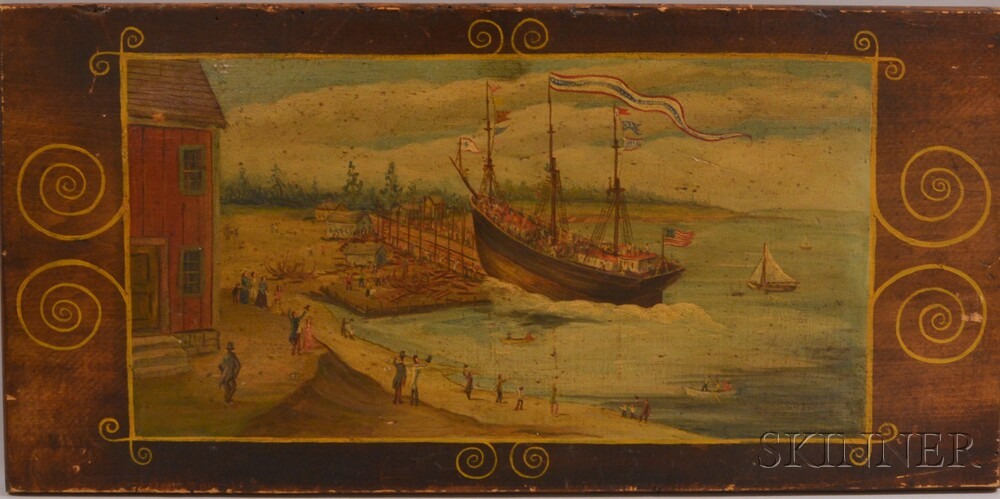 Oil on Wood Panel Depiction of a Ship Launch