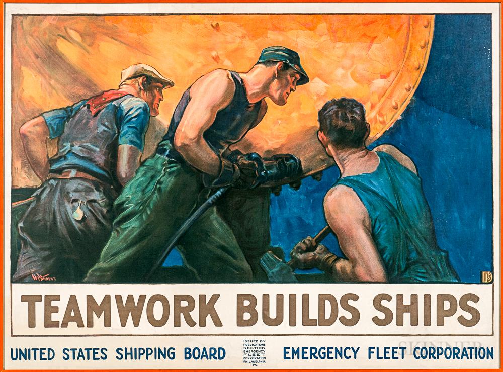Framed William Dodge Stevens Teamwork Builds Ships   Poster