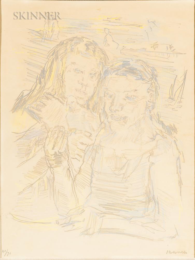 Oskar Kokoschka (Austrian, 1886-1980)      Zwei Mädchen mit Taube