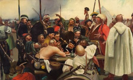 After Ilya Efimovick Repin (Russian, 1844-1930)    Cossacks Writing a Letter to the Turkish Sultan