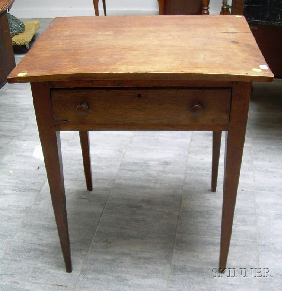 Mahogany Single-Drawer Table with Tapered Legs.