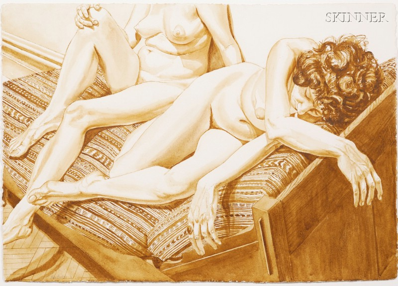 Philip Pearlstein (American, b. 1924)      Two Models on Daybed with Peruvian Cloth