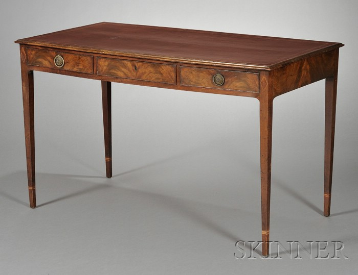 George III Inlaid Mahogany and Leather-top Diminutive Writing Table