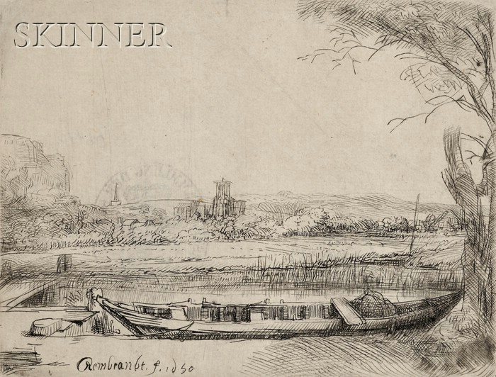 Rembrandt van Rijn (Dutch, 1606-1669)      Canal with a Large Boat and Bridge