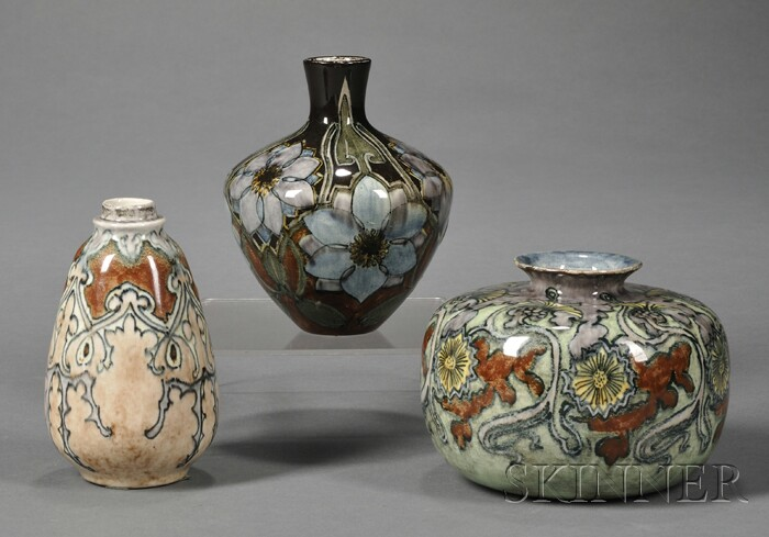 Three Small Utrecht High Glaze Pottery Vases