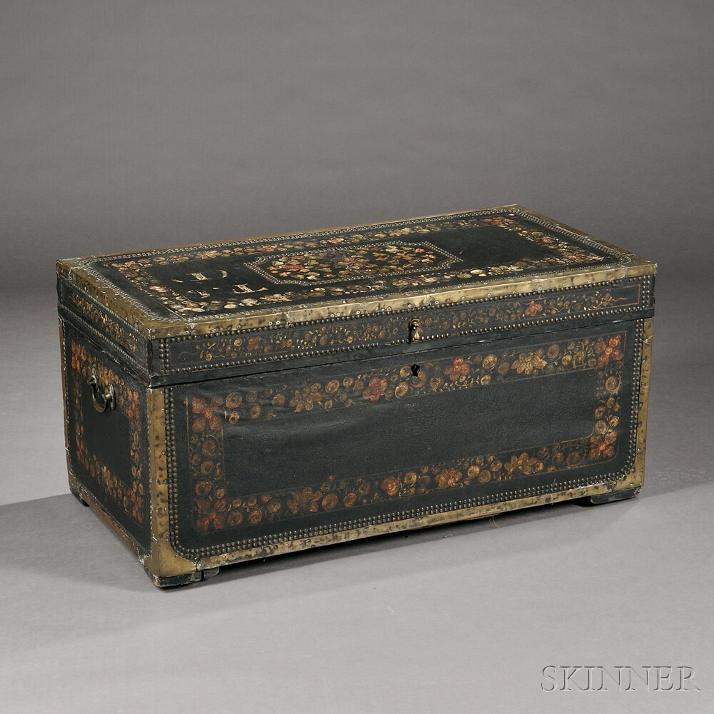 Chinese Export Brass-bound Leather and Camphorwood Trunk