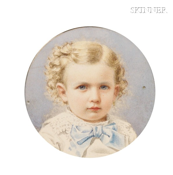 Alden Finney Brooks  (American, 1840-1931)      Lot of Two Portrait Miniatures Of Young Girls:  Flaxen Curls
