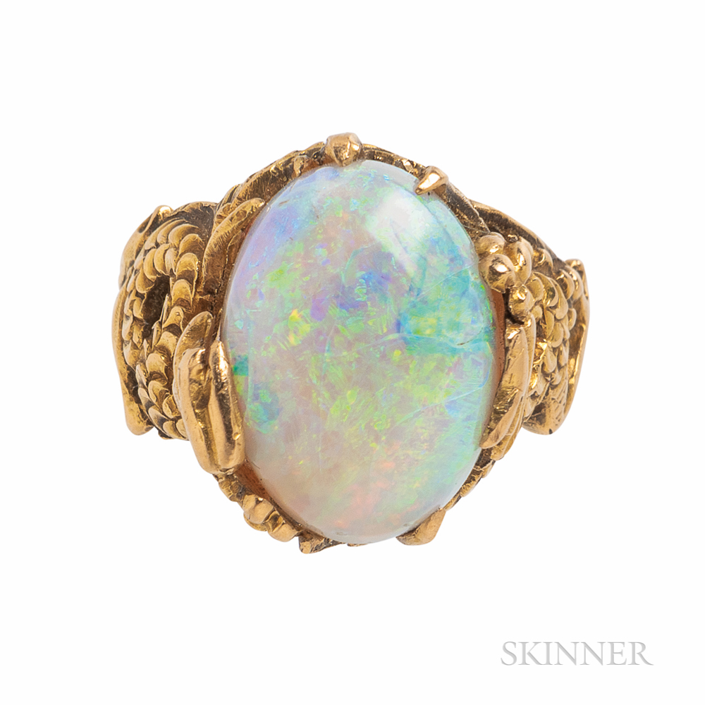 Gold and Opal Dragon Ring