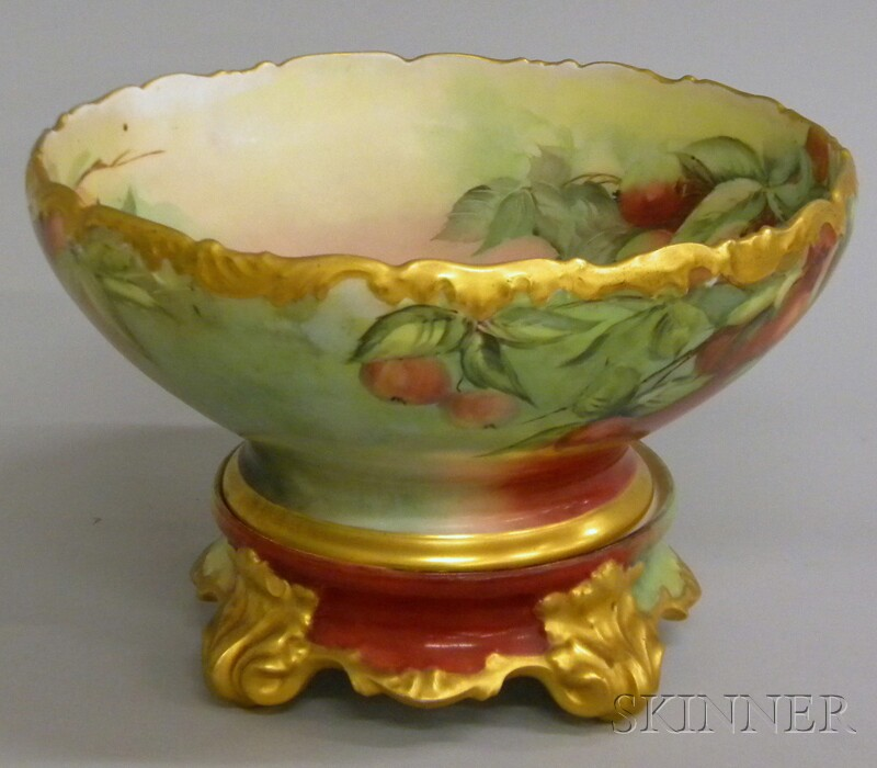 T. & V. Limoges Gilt and Hand-painted Cherries-decorated Porcelain Punch Bowl on   Stand