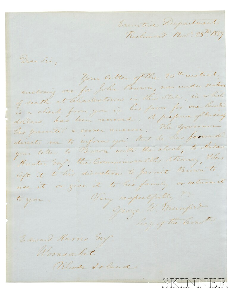 Brown, John (1800-1859) Autograph Note Signed and Endorsed Check, 1 December 1859.