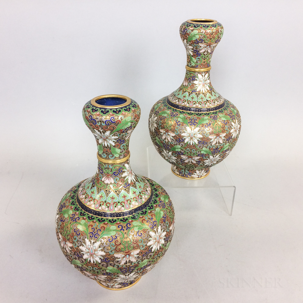 Pair of Chinese Champleve Vases